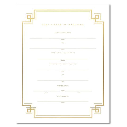 Haute Papier Gold Foil Marriage Certificate - Geometric