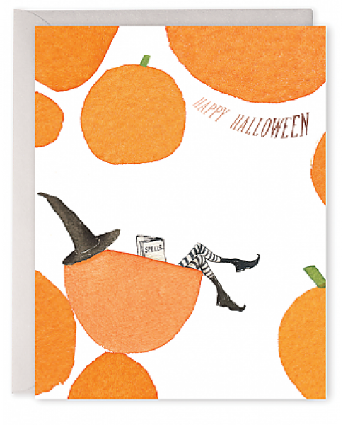 Pumpkin Witch Halloween Card