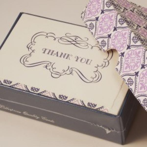 Italian Letterpress Thank You Cards purple
