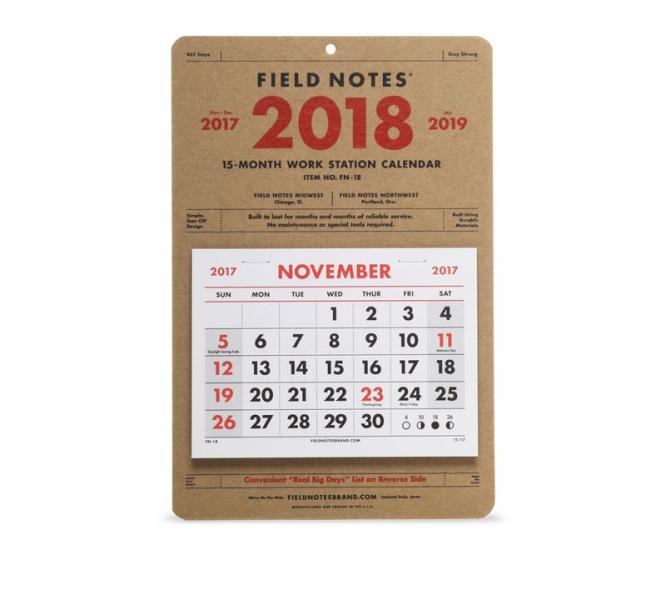 November 2017 To January 2019 Calendar Field Notes 2018 Calendar – Glyph Design Studio