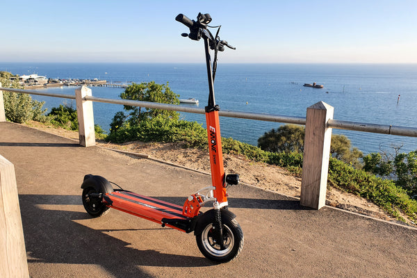 EMOVE Cruiser at Black Rock, Melbourne. (c) EcoMotion Electric Scooters