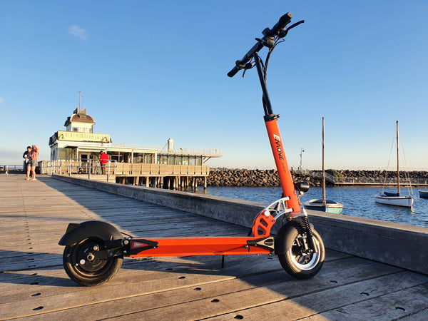 EMOVE Cruiser St Kilda Pier. (c) EcoMotion Electric Scooters