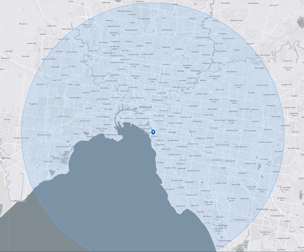 25km Radius Map - EcoMotion Electric Scooter Test Ride Service Area