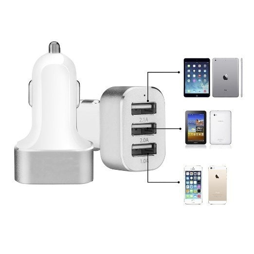 3 USB 26W 5.1A Aluminum Panel Compact Designed USB Car Charger-Hassle Free Replacement For iPhone 6 5S 5C 5 4S,iphone 6 plus,iPad Air mini, Galaxy S5 S4 S3, Note 3 4, Tab 4 3 2 Pro, Nexus, HTC One, One 2 (M8), LG G3, Nexus, MOTO X and More-White