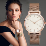 Women Fashion Watches Luxury Mesh Stainless Steel Band Analog Quartz Watch