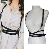 Leather Harness Sexy Women Black Rock Street Band Body Harness Cool Neck Collar Adjustable Buckle Belt