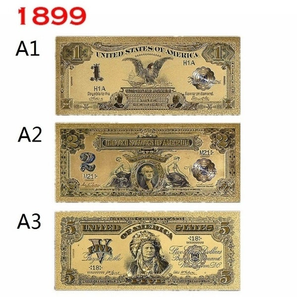 1 PSC Gold Banknote Colored Golden Bill Crafts Collection Gift