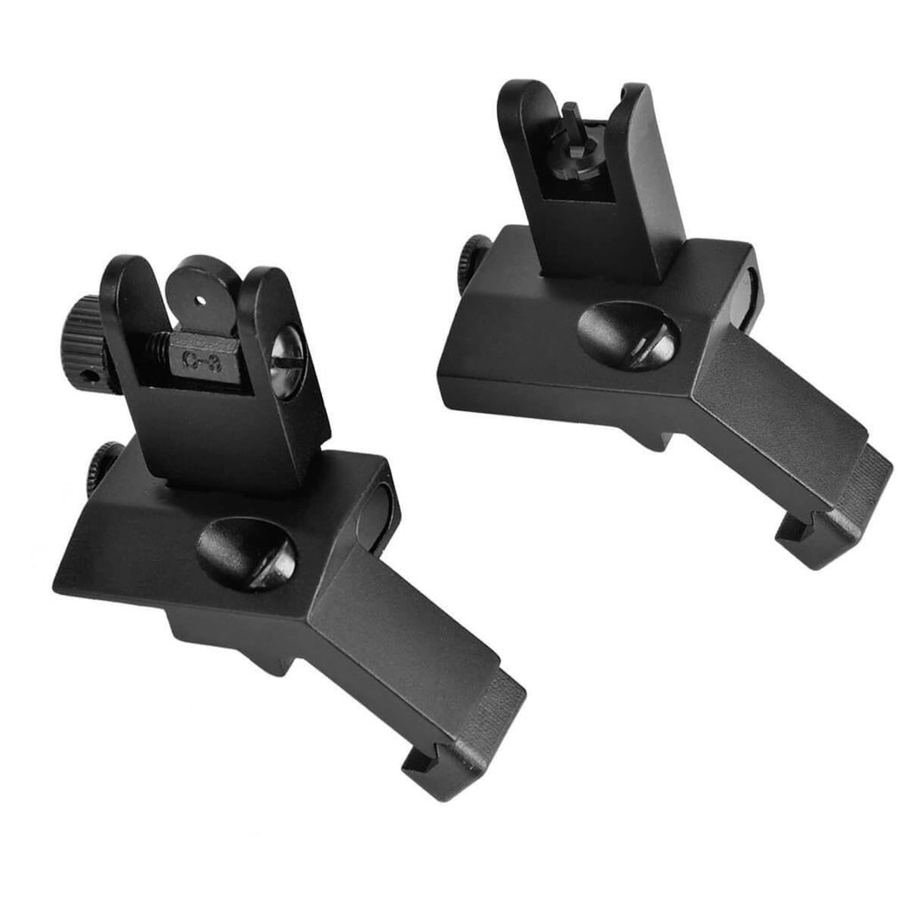 Lightweight carbon 45 Degree ar15 Sights - Flip up Front Rear Picatinny Rail Mounted for hunting airsoft