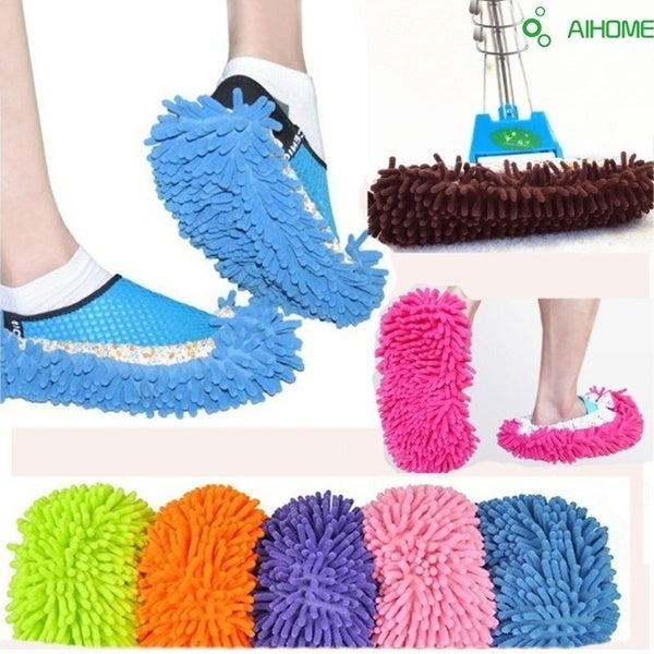 1PC/2PCS Aihome Mop Slipper Floor Polishing Cover Cleaner Dusting Cleaning House Foot Shoes Cove