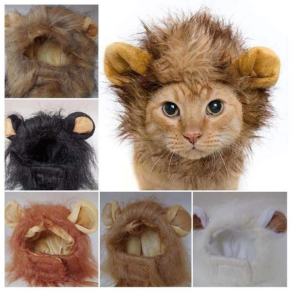 Pet Cat Emulation Lion Hair Mane Ears Head Caps Hats Cat Dress Up Wig