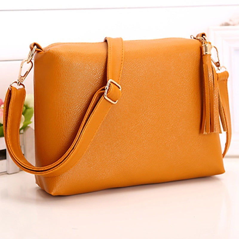 Women Bags Leather Handbag Women Large Capacity Bags Female Shoulder Bag Tassel Solid Color Luxury Designer