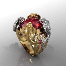 Load image into Gallery viewer, The Latest Fashion Men Luxury Ruby Cobra Gold Ring 18K Gold Silver Plated Men's Ring Party Jewelry Size 6-12