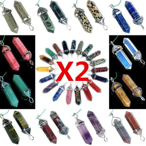 2Pcs Natural Quartz Crystal Stone Point Chakra Healing Gemstone Charms Pendant Gifts
