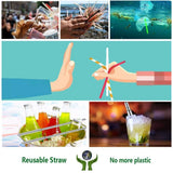 3Pcs/Set Travel Portable Telescopic Straw Stainless Steel Folding 304 Food Grade Straw Sets