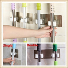 Load image into Gallery viewer, 1Pcs 9 X 9cm / 20 X 7.5cm Wall Mounted Mop Organizer Holder Rack Self Sticking Brush Broom Hanger Hook Kitchen Bathroom Mops Storage Racks