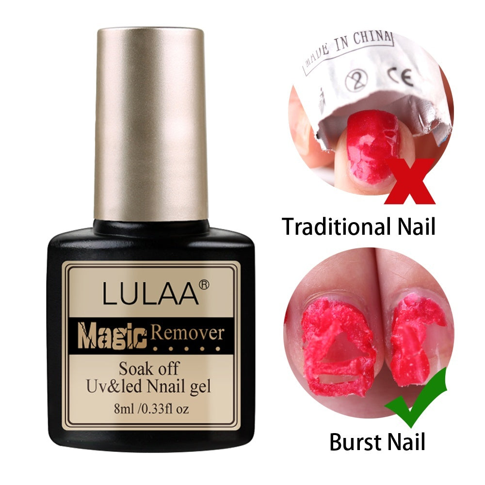 2pcs/lot Burst Remover Nail Gel Burst Magic Remove UV Gel Polish Nails Burst Clean with Culticle Pusher