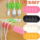 3PCS/Set Multipurpose Wire Cord Cable Tidy Holder Drop Clips Organizer Line Fixer Winder