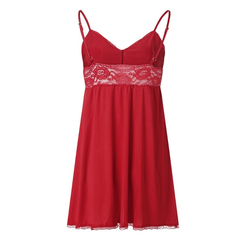 women fashion v neck lace nightdress casual backless plus size nightgown