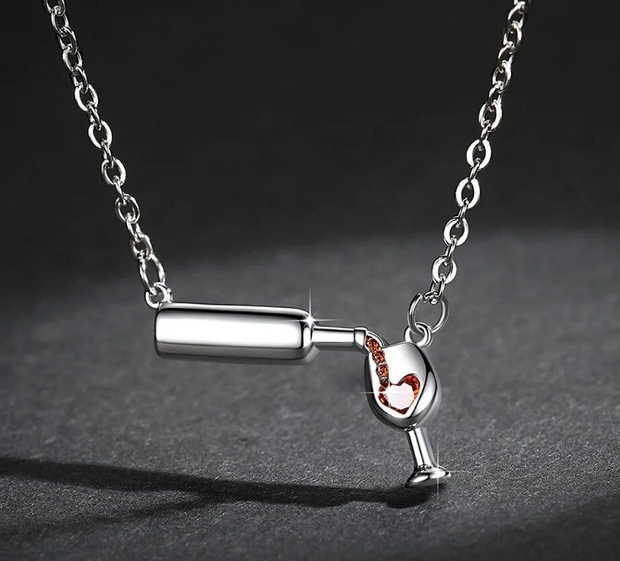 2019 New Wine Glass Necklace Wine Bottle Wine Cup Glass Red Wine Necklace Jewelry Wine Lover