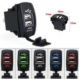 3.1A Dual USB Socket Charger Power Adapter Waterproof 12V-24V For Car Motor