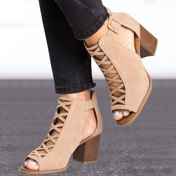 2019 New Arrival Summer Women Fashion Solid Color Hollow Out Open Toe Width High Heel Sandals Sexy Casual Dress Shoes Ankle Shoes