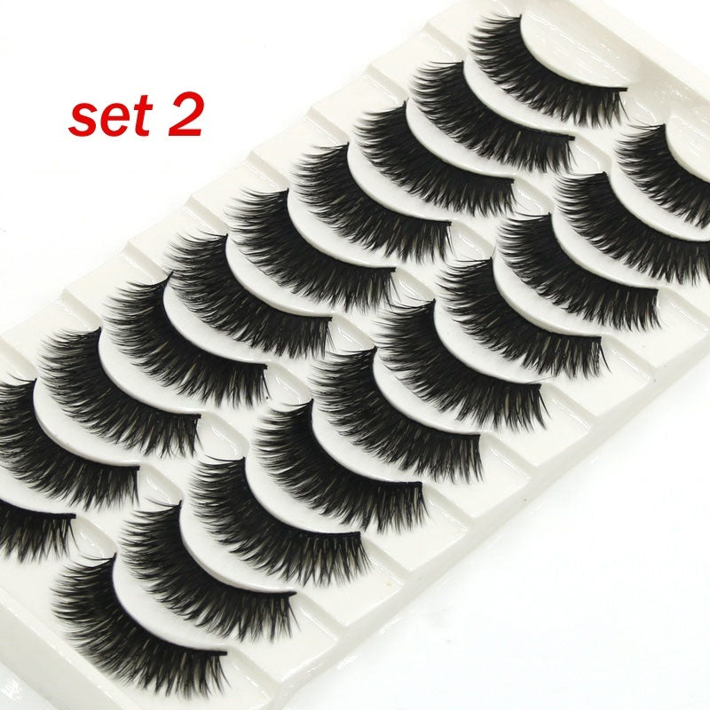 8 Different Styles 10 Pairs  Natural False Eyelashes Soft Cross Mink Lashes Multilayer Fake Mink Lashes Women Makeup Tools