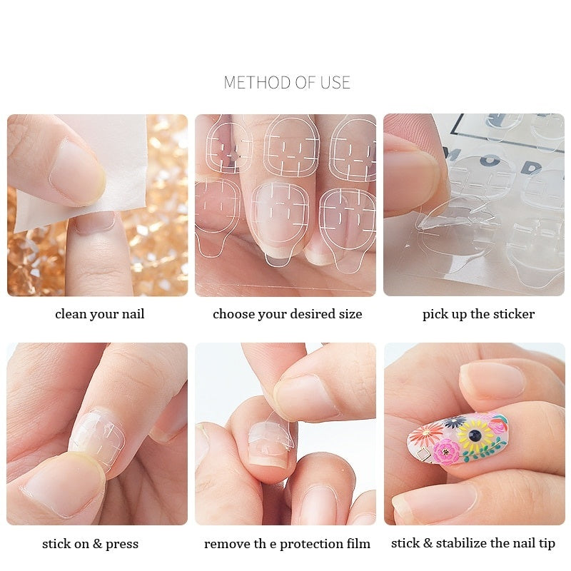 120pcs Waterproof BreathableTransparent Nail Glue Jelly Double Sided Adhesive Tapes Nail Art Sticker Decals Fingernail Art False Nail Tips