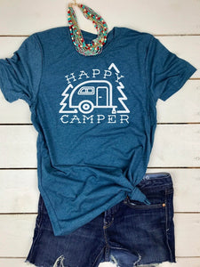 Happy Camper T Shirts Women's Fashion Short Sleeve O-neck T-Shirt Camper Bus Printed Funny Tops Summer Tees
