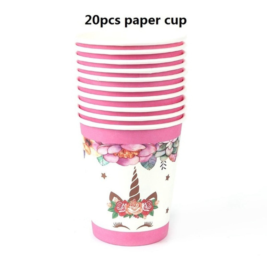 72pcs Party Supplies Kids Birthday Set Baby Shower Decorations Tablecloth Paper Cups Napkin Banner Gift Bag