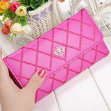 Womens Wallets Purses Plaid PU Leather Long Wallet Hasp Phone Bag Money Coin Pocket Card Holder Female Wallet Purse