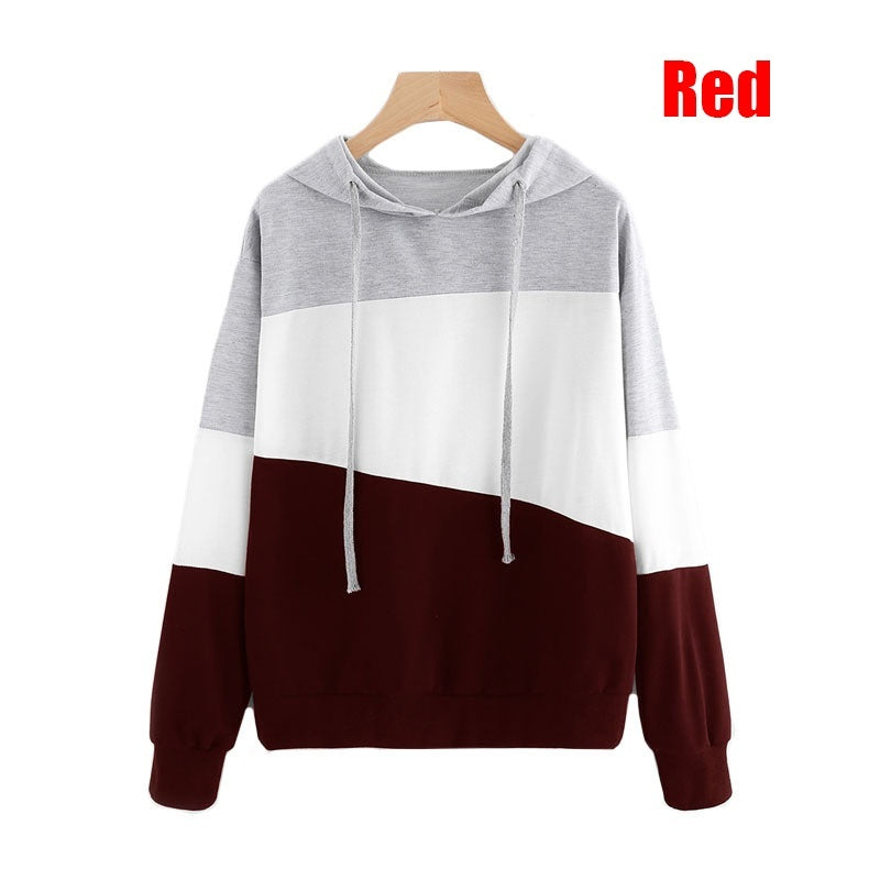 New Fashion Women's Autumn and Winter Color Block Tops Lightweight Long Sleeve Casual Loose Pullover Hoodies Coat
