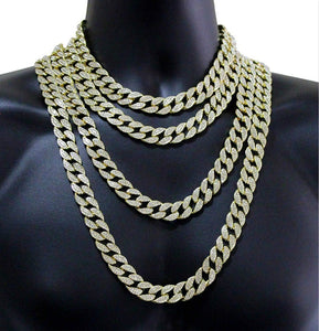 Men's Hip Hop Necklace or Bracelet Iced Out Bling Diamond Bracelet Miami Cuban Link Chain Necklace Jewelry Gifts