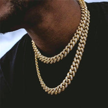 Load image into Gallery viewer, Men's Hip Hop Necklace or Bracelet Iced Out Bling Diamond Bracelet Miami Cuban Link Chain Necklace Jewelry Gifts
