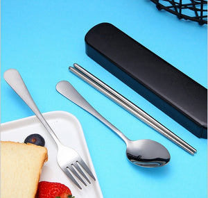 5PCS\10PCS Portable Tableware Stainless Steel Set, Silver Travel Portable Cutlery Set, with Box and Straw, Straight Straw, Knife and Fork, Spoon, Chopsticks, Cleaning Brush