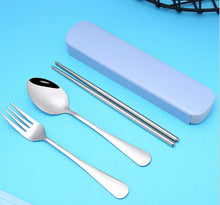 Load image into Gallery viewer, 5PCS\10PCS Portable Tableware Stainless Steel Set, Silver Travel Portable Cutlery Set, with Box and Straw, Straight Straw, Knife and Fork, Spoon, Chopsticks, Cleaning Brush