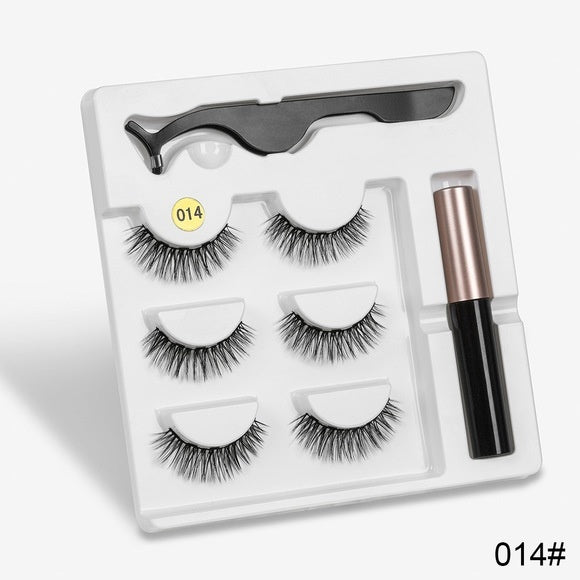 3 Pairs/Box  Magnetic Eyelashes with 1Pc Magnetic Liquid Eyeliner with 1Pc Tweezers Long Lasting Natural Eyelashes Extension False Eye Lashes Makeup Tool