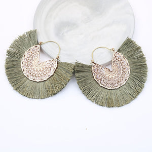 Bohemian Fan Shaped Tassel Earrings for Women Lady Female Fringe Handmade Dangle Earring Vintage Dangle Drop Earrings Jewelry