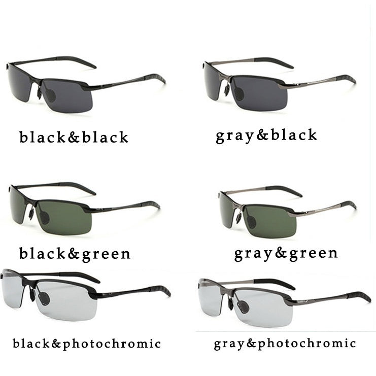 6 Colors Driving Photochromic Sunglasses Men Fashion Polarized Chameleon Discoloration Sun Glasses for Men Oculos De Sol Masculino Intelligent Photochromic Metal Outdoor Anti-UV Eyeglasses
