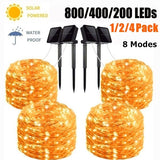 Solar String Lights 98FT-300LED,66FT-200LED,33FT-100LED Copper Fairy Light 8 Modes Waterproof Outdoor Decor Lights for Garden Patio Gate Yard Party Wedding(1/2/4Pack)