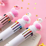 Super fire 3 styles colored flamingo / unicorn / dinosaur kawaii color ballpoint pen cartoon multicolor pen ballpoint pen child gift ball pen child Christmas gift silicone rainbow creative material Escolar chunky ballpoint pen study table Papelaria Escola