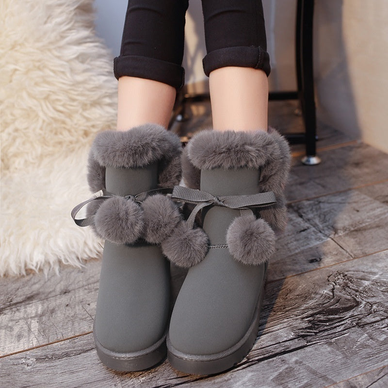 2019 New Women Winter Snow Boots Fur Wool Shoes Super Warm Plush Boots Plus Size 35-43
