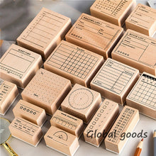 Load image into Gallery viewer, 1pc Wooden Seal   Basic Handwritten Seal Number Wooden Time Schedule Seal 18 Styles