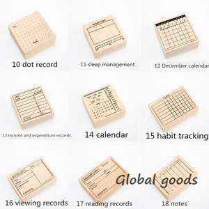 1pc Wooden Seal   Basic Handwritten Seal Number Wooden Time Schedule Seal 18 Styles