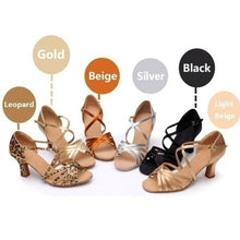 Load image into Gallery viewer, Fashion Women Ballroom Tango Shoes Latin Dance Shoes Party Mid-heeled Shoes