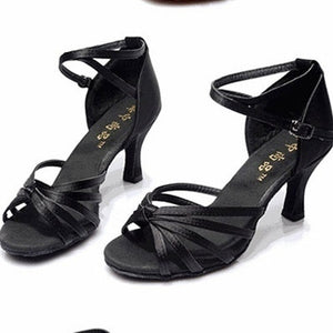 Fashion Women Ballroom Tango Shoes Latin Dance Shoes Party Mid-heeled Shoes