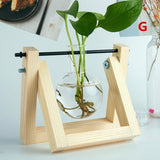 12 Style Hydroponic Plant Vases Transparent Vase Wooden Frame Glass Tabletop Plants Home Bonsai Decor
