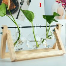 Load image into Gallery viewer, 12 Style Hydroponic Plant Vases Transparent Vase Wooden Frame Glass Tabletop Plants Home Bonsai Decor