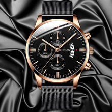 Load image into Gallery viewer, Fashion Mens Classic Watches Luxury Business Stainless Steel Mesh Strap Minimalist Quartz Wrist Watch Simple Man Clock Reloj Hombre