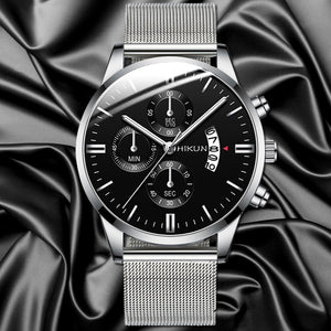 Fashion Mens Classic Watches Luxury Business Stainless Steel Mesh Strap Minimalist Quartz Wrist Watch Simple Man Clock Reloj Hombre