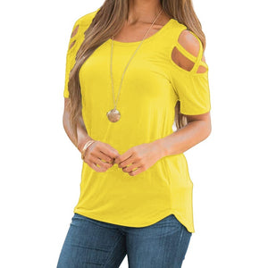 Women's Fashion Casual Loose Cold Shoulder Tops and Blouses Basic T Shirts Plus size S-5XL